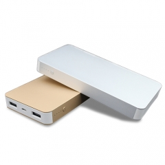 Ultra thin Aluminum alloy case 10000mah power bank with dual usb ports.