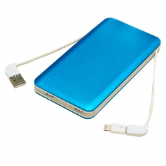 Aluminium alloy case li-polymer power bank 10000mah with built-in cable