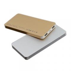 Ultra slim& thin Aluminium alloy case li-polymer power bank with dual usb